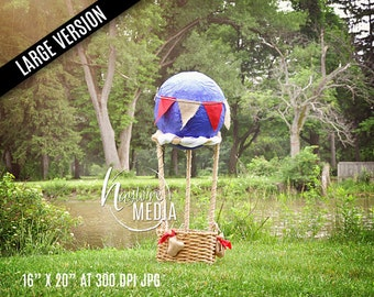Baby, Toddler, Child, Nature Hot Air Balloon Basket Photography Digital Backdrop Background Prop for Photographers, PNG Coverup Layer, BIG