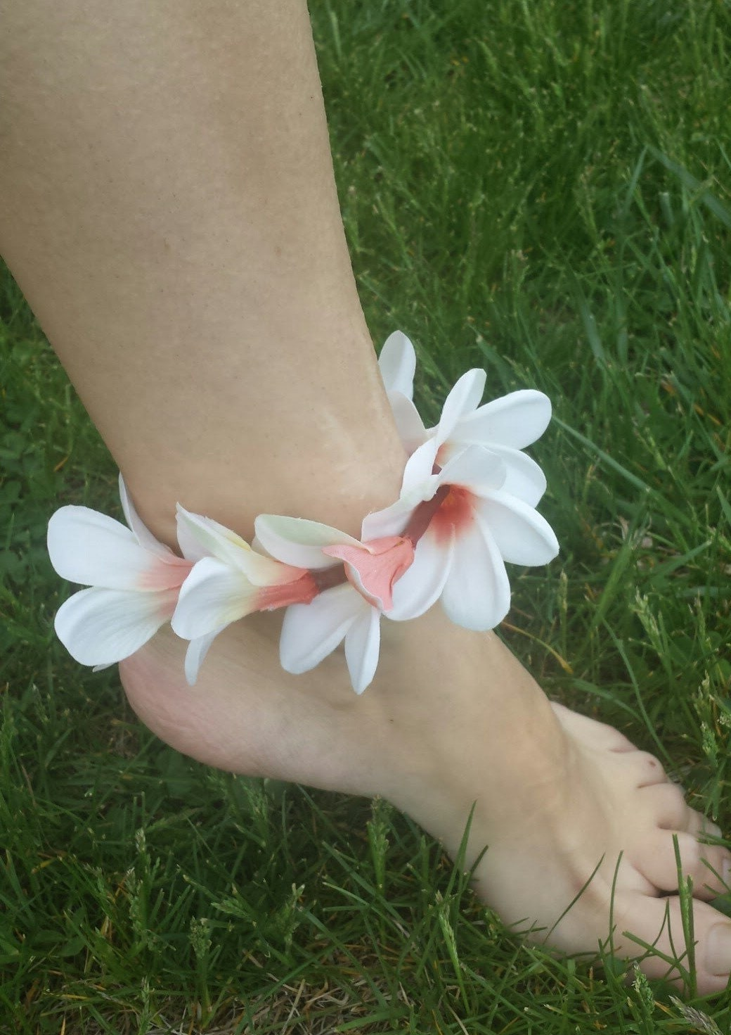 anklet inlay ankle jewelry bling jf plumeria white hawaiian bracelet flower opal