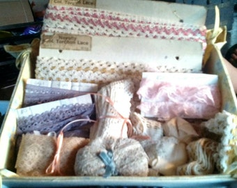 Sale-Handmade Box of Vintage Laces