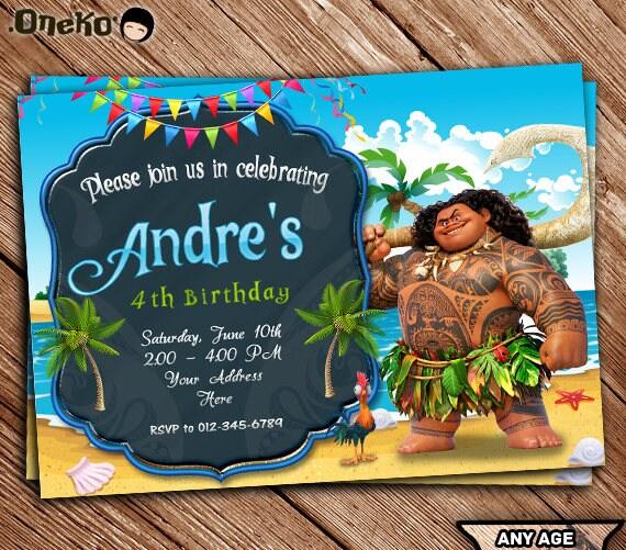 SALE 50 OFF Maui Moana Birthday Invitation Printable Maui