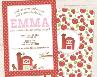 Farm Birthday Party Invitation | Farm Birthday Printable Invitation | Girl Birthday | Gracie Lee Design