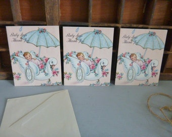 Cards 3 vintage thank, you baby girl cards, unused kitschy set