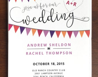 Bright Bunting Orange and Purple Wedding Invitations