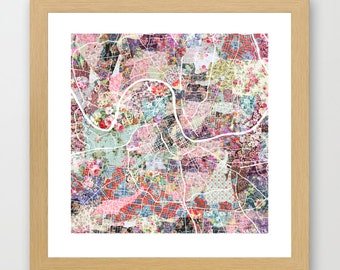 Nashville map | Nashville Painting | Nashville Art Print | Nashville Poster | Tennessee map | Flowers compositions