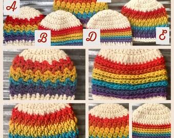 Crochet Rainbow Baby Hat, Knit Hat, Natural Fiber, Rainbow Baby Hat, Baby Boy Hat, Baby Girl Hat, Crochet Hat, Newborn Beanie, Rainbow