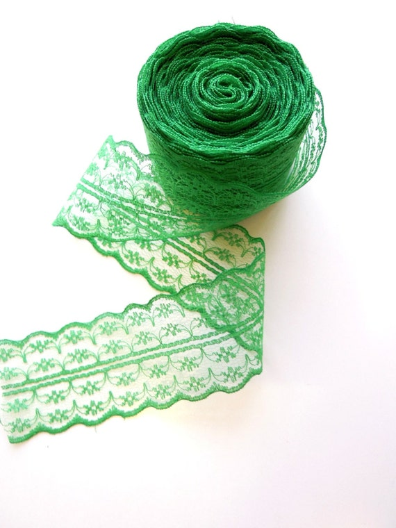 2.5yds Green lace ribbon 45 mm, Emerald green burlap lace, Irish green ribbon, Shabby lace ribbon, Green lace ribbon, Gift lace ribbon