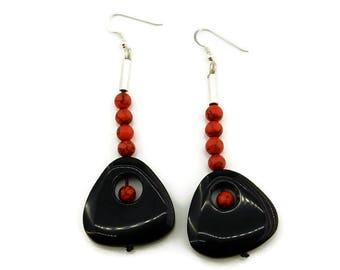 Drop earrings, Onyx earrings, Triangle earrings, Beaded earrings, Long earrings, Gemstone earrings, Agate earrings, Black triangle Onyx