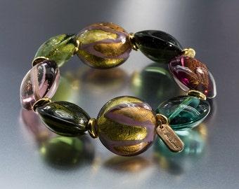 Hillary London Murano Lampwork Glass Bead Stretch Bracelet