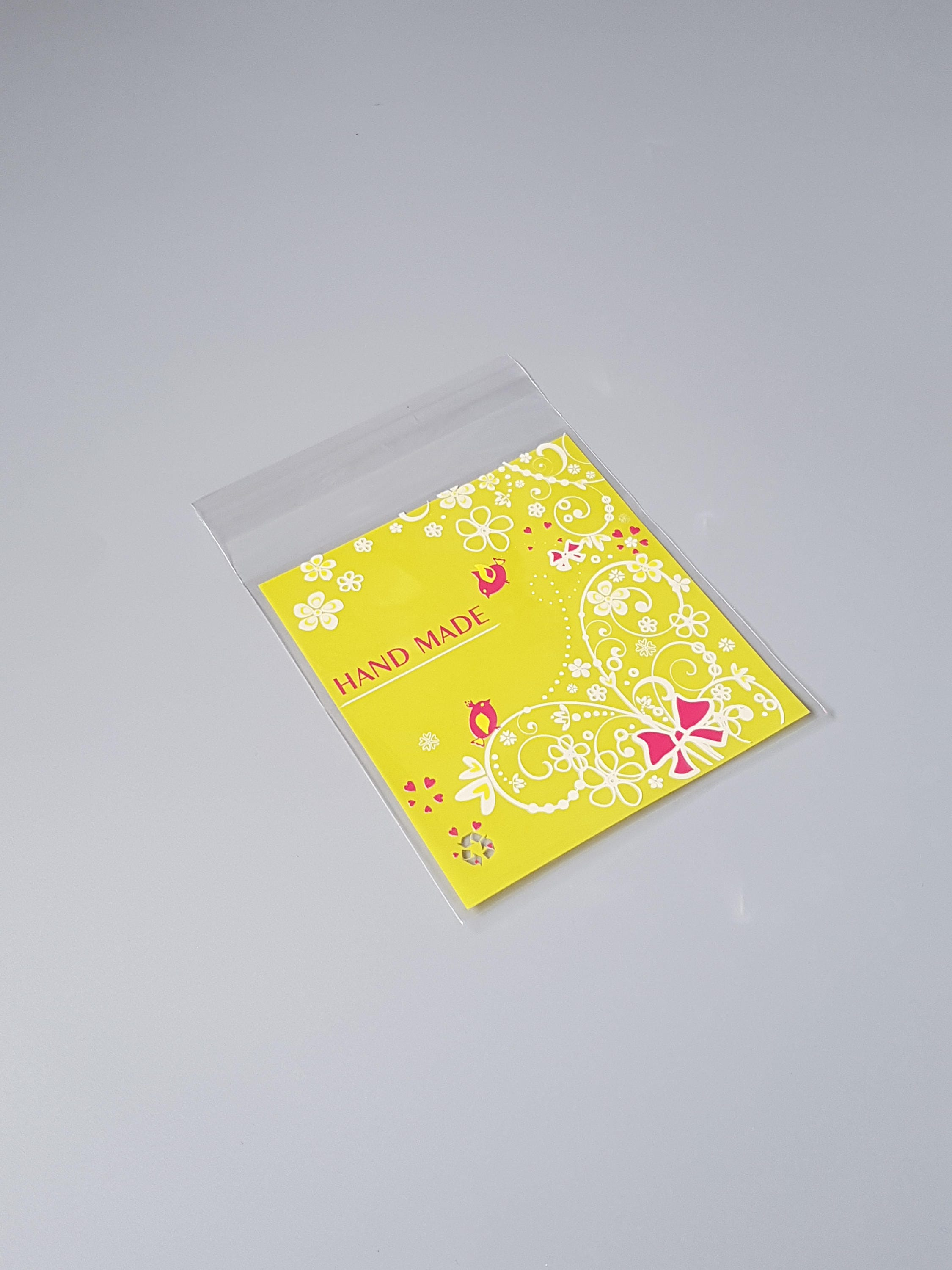 10 Bright yellow hand made cookie bags, bird cellophane bags, heart ...