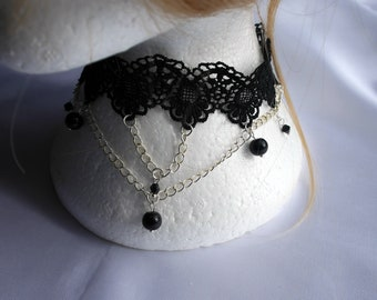 Gothic lace choker, Black Lace choker, Black Bridal Necklace, Black Pearl bridal choker, Lace and Pearl choker Necklace,