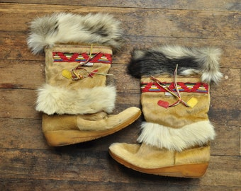Vintage Mukluk Boots Real Fur Made in Italy size 41 Fits 6.5 - 7 - Tecnica Boot Italian - Boho Bohemian Hippie