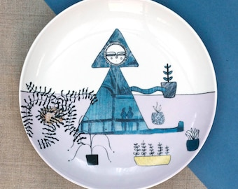 """Small Side Plate illustrated decal """"Breathing in What They Breathe Out"""""""
