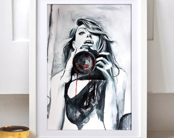 Young woman photographer poster. Watercolor print.  Woman watercolor art print. Wall art, wall decor, digital print.