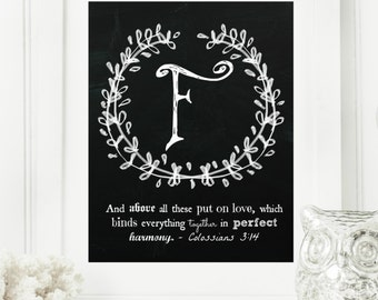 """Instant """"Family Monogram Scripture"""" Chalkboard Wall Art Print 8x10 Typography Letter """"F"""" Printable Home Decor, & Binder Cover"""