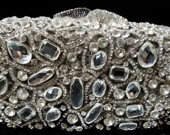 New Silver With Clear Austrian Crystal  -Hard Shell Clutch Evening Minaudiere Handbag