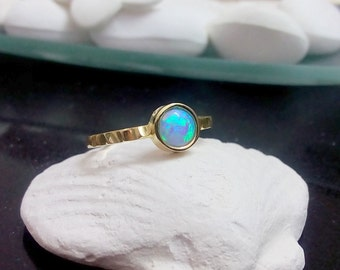 SALE! Blue opal ring, gold ring, gemsttone ring, opal jewelry, blue stone ring, wedding ring, bezel setting, small round ring