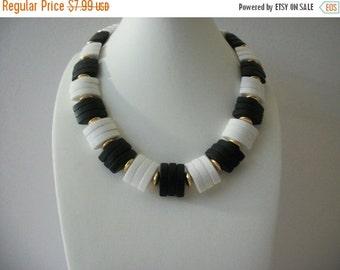 ON SALE Vintage 1960s Black White Gold Plastic Beads Necklace 91616