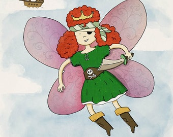 Fairy Pirate Princess - Unframed children's art print