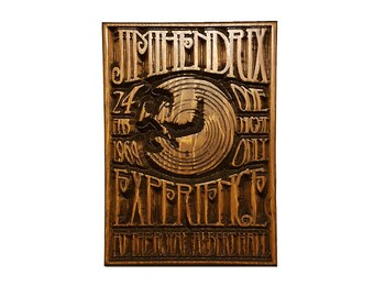 """Jimi Hendrix Experience """"Royal Albert Hall Concert Poster"""" Wood Carved Wall Art"""