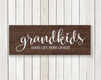 Grandkids Make Life More Grand svg, Grandparents svg, Modern Farmhouse, Magnolia Market, Joanna Gains vector, Fixer Upper cut file, sign