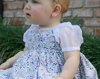 Baby Dress in Floral Purple, Blues & Pinks