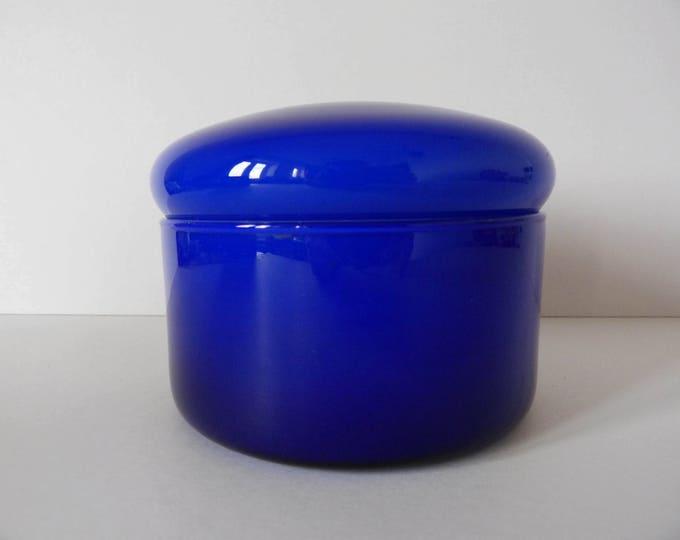 Vintage blue cased glass storage jar