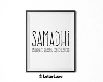 Samadhi Name Meaning Art - Printable Baby Shower Gift - Nursery Printable Art - Digital Print - Nursery Decor - Typography Wall Decor