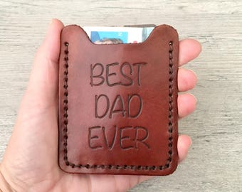 Best Dad Ever Mens Wallet - Money Clip Wallet - Gift for dad - Leather money clip card case - Wedding gift - Father of the Bride or Groom