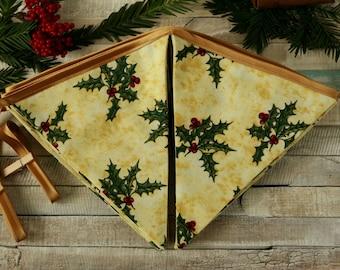 Christmas garland, holiday decoration, Christmas party, Xmas decor, holiday garland, Christmas holly, traditional Christmas, Christmas flags