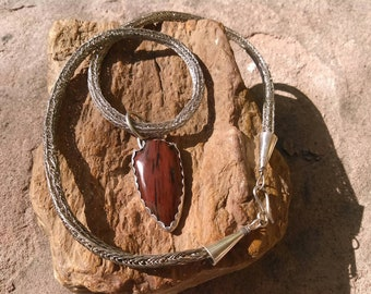 Sterling silver woven necklace with mahogany obsidian and sterling pendant