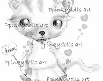 INSTANT DOWNLOAD Digital Digi Stamps..by Chrishanthi's art,Kitty''