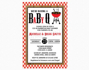 Baby Q Baby Shower Invitation, Barbecue Baby Shower Invitation, Gender Neutral, Personalized, Printable File or Printed