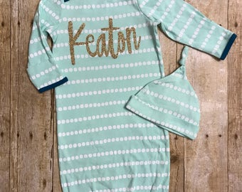 Personalized baby gown, baby boy gown, newborn outfit, coming home outfit