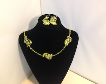 Green Beaded Necklace and Earrings 67