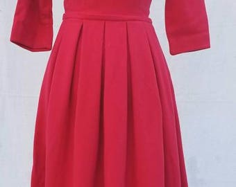 Gorgeous lipstick red vintage 1950's wool dress Betty Draper would certainly approve.