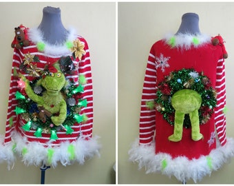 Hysterical Double sided Tacky Ugly Christmas Sweater Light Up,  Festive Fun, Womens Large, feather foo foo trim, Light up Trees, Funny