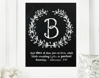 "Instant ""Family Monogram Scripture"" Chalkboard Wall Art Print 8x10 Typography Letter ""B"" Printable Home Decor"