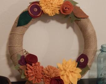 Fall Felt Flower & Burlap Wreath
