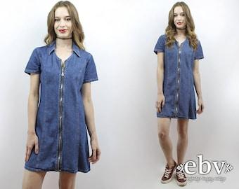 90s Party Dress Denim Dress Denim Mini Dress Zip Front Dress 90s Grunge Dress 90s Mini Dress 1990s Dress 90s Dress 1990s Clothing