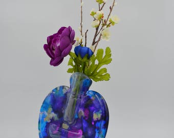 Slumped Bottle Vase - hand painted
