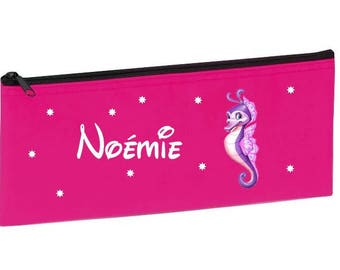 School Kit pink seahorse personalized with name