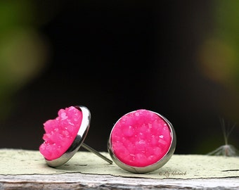 Hot Pink Faux Druzy Studs,12mm on Stainless Steel Posts and Cup Bezels, Neon Pink Glitter Earrings
