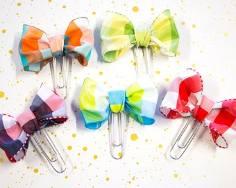 Planner Clip - Planner Bookmark - Plaid Ribbon Bow Planner Planner clip - Bow clip- Ribbon Planner Clip - fabric bow clip - Bow