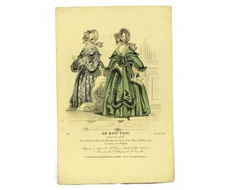 Antique Fashion Illustration. 1838 Fashion Plate from Le Bon Ton. French Engraving.  Ready To Frame Art. Fashionista Gift.