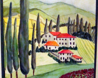 TUSCANY ORIGINAL Watercolor Italian Europe European Landscape Tuscan Oil Painting POPPIES Poppy Flowers Unframed Fields Italy Italian