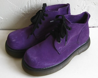 Vintage 90s Doc Martens Purple Suede Lace Up Shoes Made in England UK 5