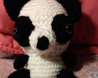 Panda, crochet handmade, little panda doll with scarf