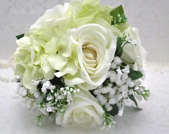 Ivory and green bouquet/small bouquet/ bridesmaids bouquet/artificial bridesmaids bouquet/artificial bouquet