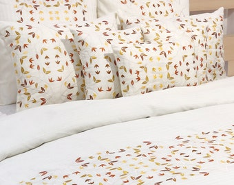 Queen & King Duvet Cover Set In Ivory Self Stripe Cotton Fabric with Embroidery, 8 Pc Set - Chirpy Yellow