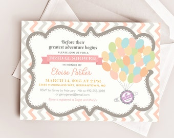 Disney UP Wedding Bridal or Baby Shower Printable Invitation Design, Our Greatest Adventure Inspired by Carl & Ellie's Love / Paradise Falls